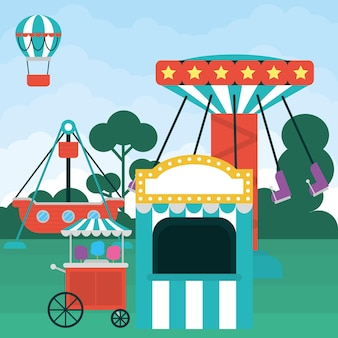 Fair carnival illustration with atracttions