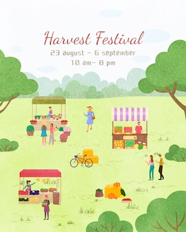 Fair holiday, harvest festival poster template
