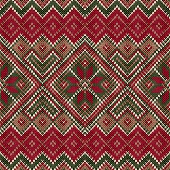Традиционный fair isle style бесшовные трикотажные модели. рождество и новый год дизайн фона