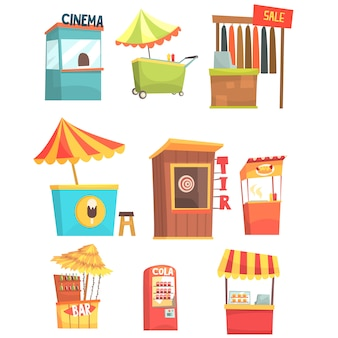 Fair and market street food and shop kiosks