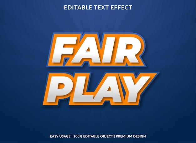 Fair play text effect template premium style