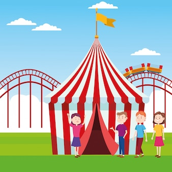 Fair tent and people standing over roller coaster and landscape