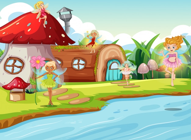 Fairies in fantasy world illustration