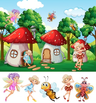 Fairies in fantasy world