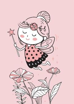 Fairies fly over the garden