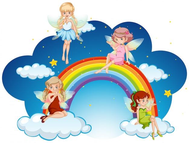 虹の上を飛んでいる妖精たち