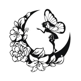 Иллюстрация феи и полумесяца