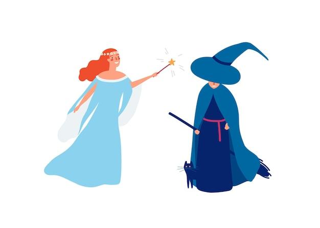 요정과 마법사 평면 벡터 일러스트 레이 션. 마법의 막대기와 화난 마녀 만화 캐릭터를 가진 어린 웃는 소녀. 선과 악의 전투 개념입니다. 여성 마술사 흰색 배경에 고립입니다.