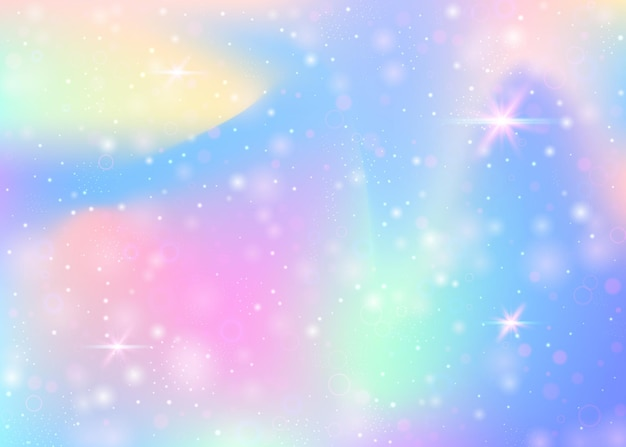 Fairy background with rainbow mesh.  girlish universe banner in princess colors. fantasy gradient backdrop with hologram. holographic fairy background with magic sparkles, stars and blurs.