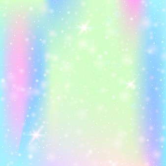 무지개 메쉬와 요정 배경입니다. 공주 색상의 가와이이 우주 배너입니다. 홀로그램으로 판타지 그라데이션 배경입니다. 마법의 반짝임, 별, 흐림 효과가 있는 홀로그램 요정 배경.