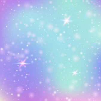 Fairy background with rainbow mesh. kawaii universe banner in princess colors. fantasy gradient backdrop with hologram. holographic fairy background with magic sparkles, stars and blurs.