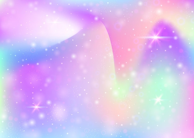 무지개 메쉬와 요정 배경입니다. 공주 색상의 여러 가지 빛깔의 우주 배너입니다. 홀로그램으로 판타지 그라데이션 배경입니다. 마법의 반짝임, 별, 흐림 효과가 있는 홀로그램 요정 배경.