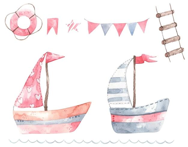 妖精のボート、かわいい赤ちゃんのイラスト