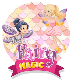 Fairy cartoon character with fairy magic font typography on pastel scales isolated