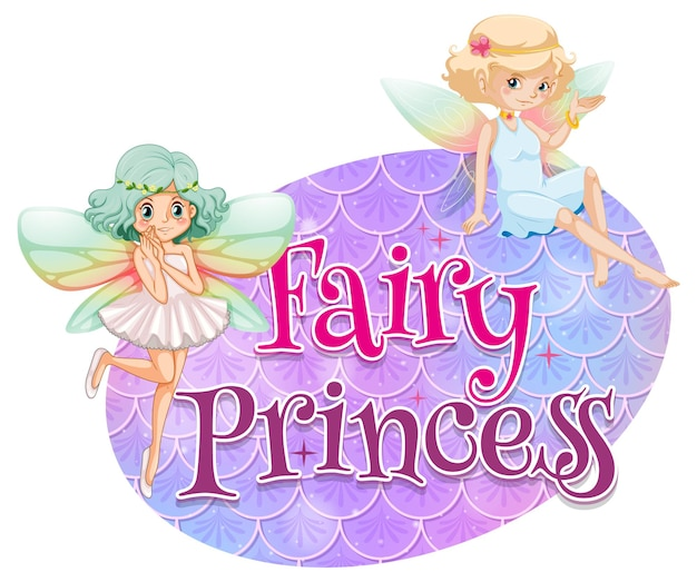 Fairy cartoon character with fairy princess font typography on pastel scales isolated