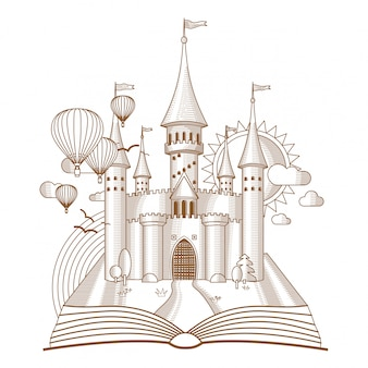 Fairy castle appearing from the old book mono line art