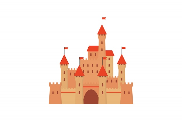Сказочный замок в плоском стиле.