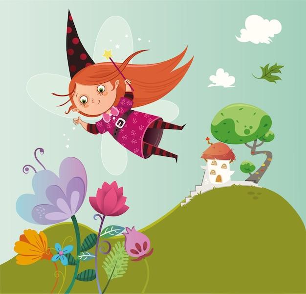 花のイラストの上を飛んでいる妖精のキャラクター