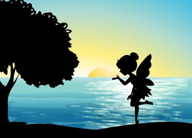 自然シーンの妖精キャラクター