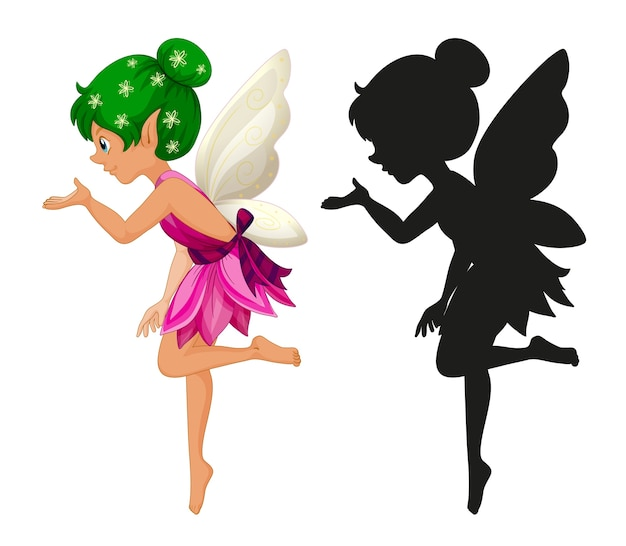 Fairy characters and its silhouette on white background