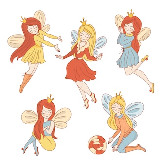 Fairy charactersウェディングベクトルイラストセットプリント