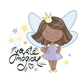 Fairy dark princess and lettering