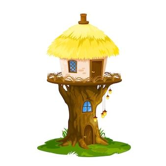 Fairy elf or gnome house, cartoon dwelling