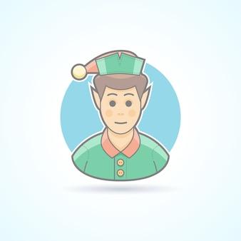 Сказочный эльф, помощник санты, значок миньона. аватар и иллюстрация человека. цветной очерченный стиль.