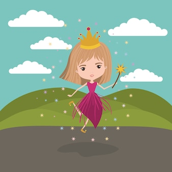 Fairy fantastic character with crown and magic wand
