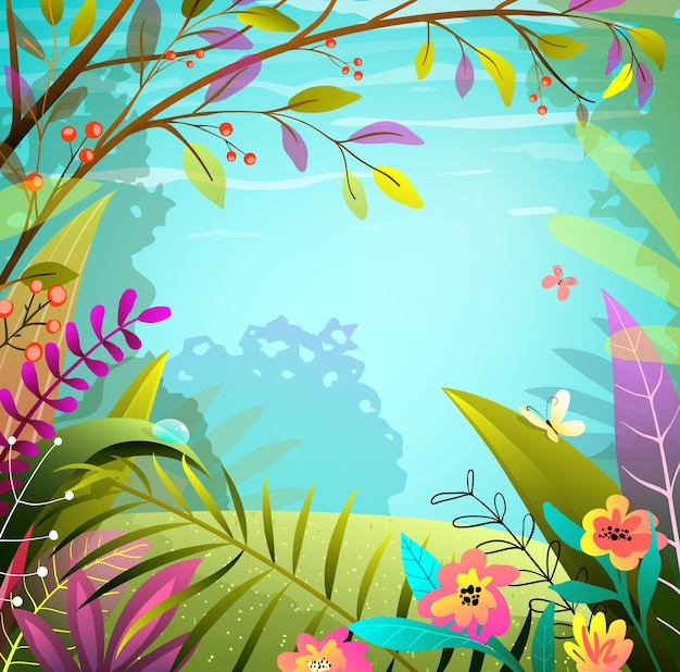 妖精の森やジャングルの背景、緑とカラフルな緑豊かな葉、木々や草。