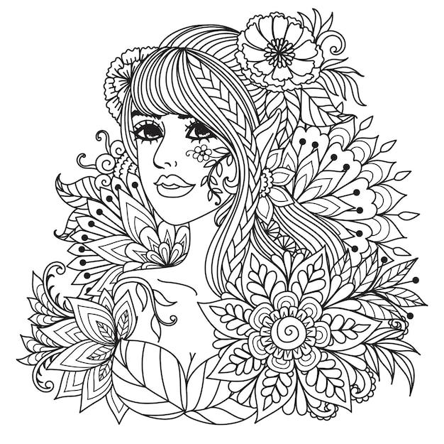 塗り絵、製品への印刷、レーザー彫刻などのための曼荼羅の花を持つ妖精の女の子。ベクトルイラスト