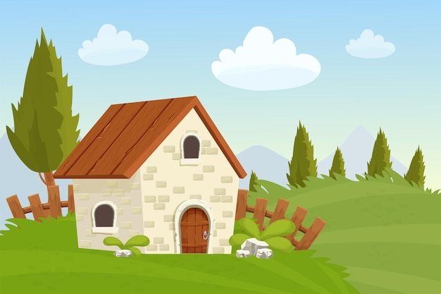Fairy house from stone landscape with wooden fence grass trees farming in cartoon style
