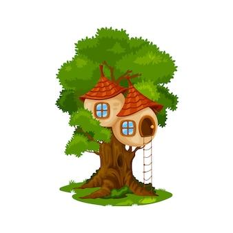 요정 집 또는 오크 나무에 거주. 나무, 난쟁이 또는 엘프 집에 만화 벡터 동화 생물 오두막, 환상의 집, 밧줄 사다리와 타일 지붕이 있는 숲에 숨겨진 신비한 나무 집