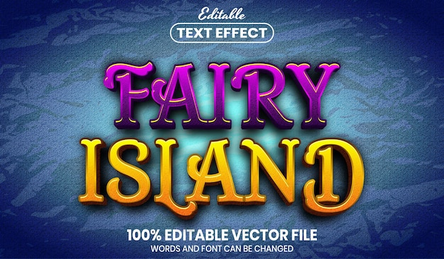 Fairy island text, editable text effect