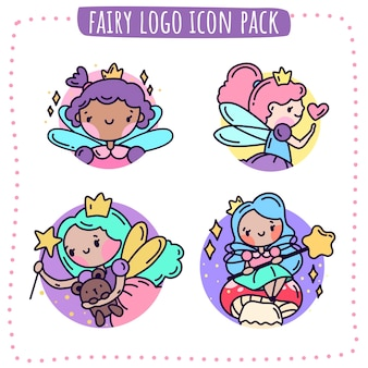 Fairy logo icon pack illustration