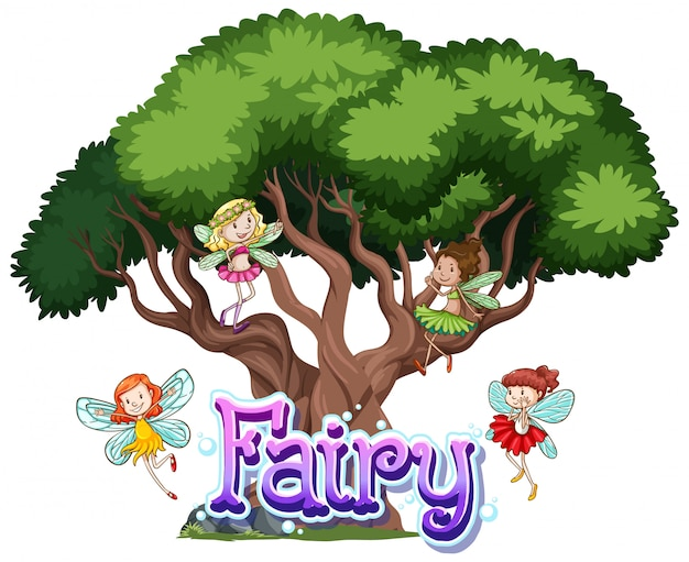 Fairy logo with little fairies on white background