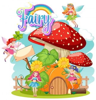 Fairy logo with little fairies