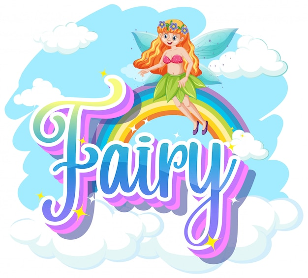 Fairy logos with little fairy on white background