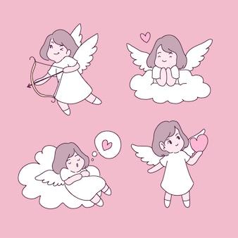 Fairy in love illustrations set