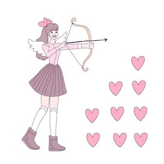 Fata innamorata di arco e freccia