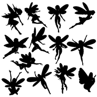 Fairy magic creature silhouette clip art vector