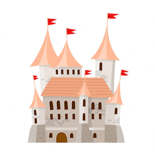 Fairy medieval castle in cartoon style on white