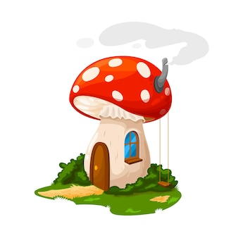 Fairy mushroom house or gnome dwelling and dwarf home