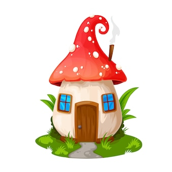 Fairy mushroom house, gnome dwelling. vector fly agaric cartoon building, fairytale elf home with wooden door, windows and steaming pipe on roof. isolated fantasy cute house on green field with path