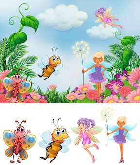 Fairy in nature background