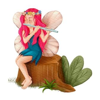 森の中でフルートを演奏する妖精