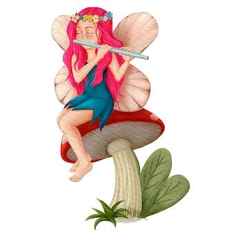 キノコの上でフルートを演奏する妖精