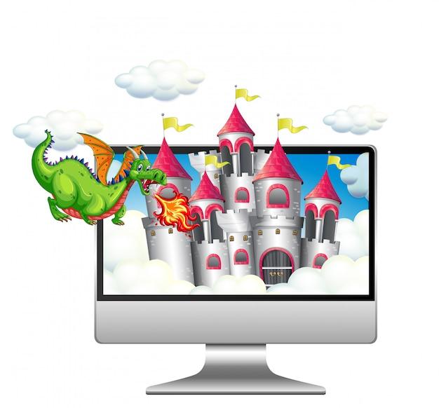 コンピューターのデスクトップの背景に妖精のシーン