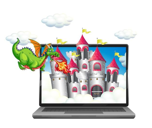 ノートパソコンのデスクトップの背景の妖精シーン