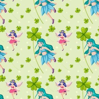 클로버 잎 요정 원활한 패턴
